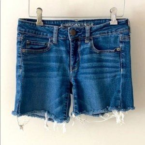 American Eagle Mid Rise Cut Off Jean Shorts Size 4